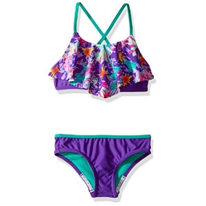 Speedo Girls Jungle Floral Ruffle Two Pieceビキニセット
