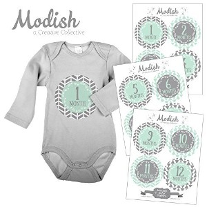 12 Monthly Baby Stickers, Gray, Mint, Boy, Baby Belly Stickers, Monthly Onesie Stickers, First Year Stickers Months 1-12, Gray, Mint, Arrows, Herringbone, Tribal, Baby Boy by Modish - Creative Collective