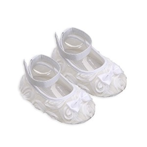 Petals White Christening, Baptism, Dedication, Blessing Shoes and Headband Set (Size 3) by...