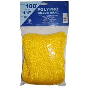 T.W. Evans Cordage 27-345 .25 in. x 100 ft. Hollow Braid Polypro Rope in Yellow