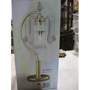 OK Lighting French Gold Table Lamp with Crystal Shade [並行輸入品]