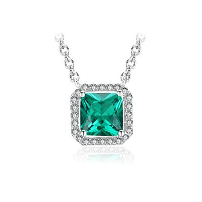 JewelryPalace 1.8ct 5月 誕生石 人工 合成 エメラルド ネックレス ペンダント スターリング シルバー 925 チェーン 45cm