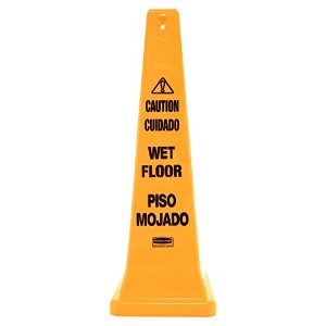 Four-Sided Caution, Wet Floor Yellow Safety Cone, 12-1/4 x 12-1/4 x 36h (並行輸入品)