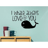 I whale always love you ocean cute hearts playroom sticker nursery vinyl saying lettering wall art...