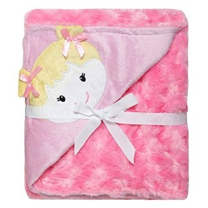 Baby Girl Rosette Pink Blanket with Little Girl Face by Baby Starters