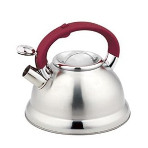 Europeware 0439RED Stainless Steel Whistling Tea Kettle with Red Handle, Silver/Red [並行輸入品]