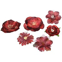 """Floral Embellishments Mixed Blooms 1.5"""" To 2.25"""" 6/Pkg-Red & Burgundy (並行輸入品)"""