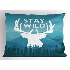 Adventure Pillow Sham by Ambesonne、WildernessテーマStay Wild Quote with Scenic Mountain Forest...