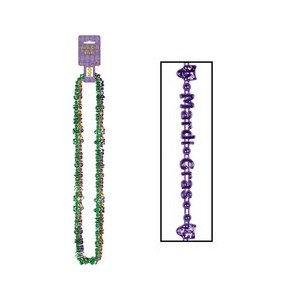 Mardi Gras Beads-Of-Expression (asstd gold, green, purple) (3/Card) by Beistle