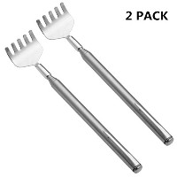 Extendable Highly PolishedステンレススチールBack Scratcher withポケットクリップ シルバー