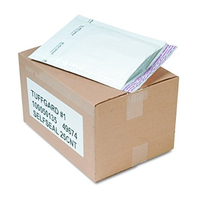 Jiffy TuffGard Self-Seal Cushioned Mailer, #1, 7 1/4 x 12, White, 25/Carton (並行輸入品)