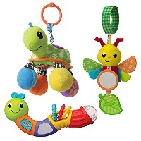 Infantino Topsy Turvy Toy Bundle Rattle & Mirror, Caterpillar Chime Pal by Infantino