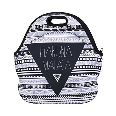 (Hakuna Matata) - Aigemi Neoprene Lunch Tote Bag Insulated Reusable Lunch Bags Boxes for Women,...