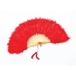 Bristol Novelty Feather Fan. Red Costume Accessories - Women's - One Size