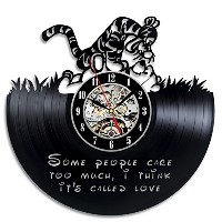 Winnie the Pooh Gift Wall Clock Vinyl Record Art Decor Retro [並行輸入品]