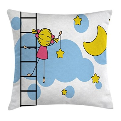 STARスロー枕クッションカバーby Ambesonne、Cute Girl onラダーHanging A Star in the Night Skyハーフムーン漫画画像で、装飾正方形アクセント枕ケー...