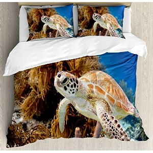 Turtle布団カバーセットby Ambesonne、コーラルReef And Sea Turtle Close Upフォトボネール島Island Waters Maritime、装飾寝具セットwit...