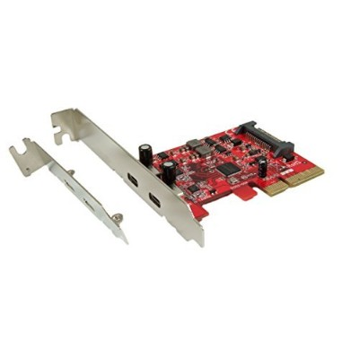 Ableconn PU31-2C-2 USB 3.1 Gen 2 (10 Gbps) 2ポート、タイプC PCI Express (PCIe) x4ホストアダプタカード (ASMedia...