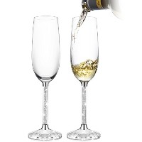 IFOLAINA Set of 2 Champagne Glasses with Crystal Diamond Stem 8oz by Philosophers