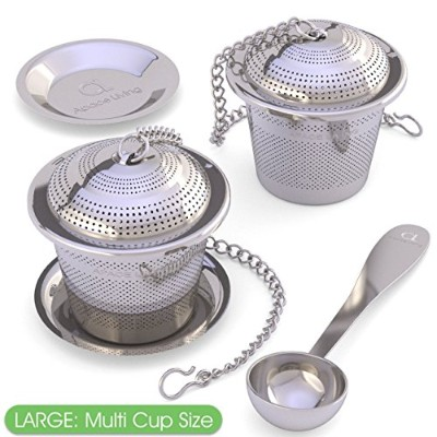 (L) - Large Tea Infuser (Set of 2) with Tea Scoop and Drip Trays - Multi Cup Size Stainless Steel...