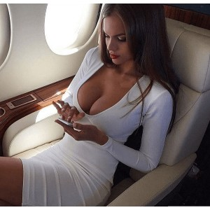 Womens New Arrived White Deep V Neck Sexy Club Wear Evening Party Bodycon Tunic Casual Mini Dress
