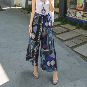送料 0円★PPGIRL Print wide pants / wide fit slacks / straight fit / beach wear / vacation /