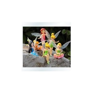 (ティンカーベル フェアリー フィギュア) Anime Cartoon Tinkerbell Fairy PVC Action Figure Toys Girls Dolls Gift 6pcs/se