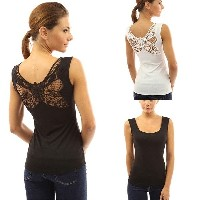 Women summer sexy butterfly lace back hollow-out tank top