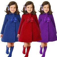 New Kids Girls Winter Clothes Wool Coat Single Breasted Bow Woolen Coat Long Trench Wind Coat Jacket