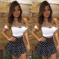 Sexy Women Lace Bodycon Dress Skirt and Crop V-Neck Tops 2-Piece Party Clubwear