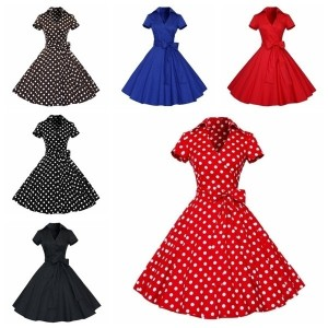 Women Retro Chic Polka Dots Party Cocktail Pinup Rockabilly Swing Dress Sundress