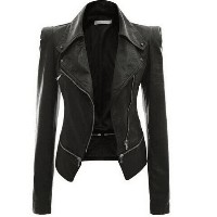 2016 autumn and winter womens motorcycle jacket zipper wear leather