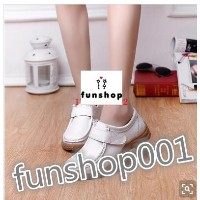 White leather shoes nurse shoes work shoes slip middle-aged mom flat shoes plus velvet