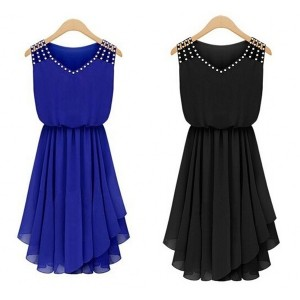 Summer Dress 2015 Women Vintage Rhinestone Blue Black Royal Chiffon Dresses