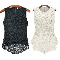2016   Women Fashion Sleeveless Embroidery Blouse Lace Tops Crochet Shirt White&amp Black