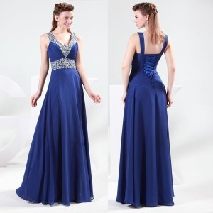 Grace Karin Sexy Blue Beading Bridesmaid Evening Party Formal Prom Ball Gown Long Dress