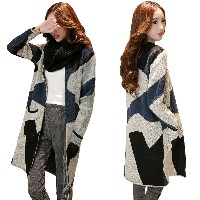 New Women Knitted Cardigan Outerwear Contrast Geometry Pockets Long Warm Thickened Coat Sweater...