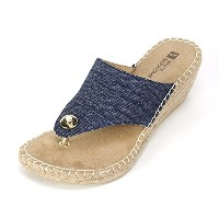 White Mountain Womens Beachball Espadrille Wedge Sandal  Dark Denim  7 M US