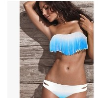 European and American fashion sexy fringe bikini hot spring tour split swimsuit female Bikini chest...