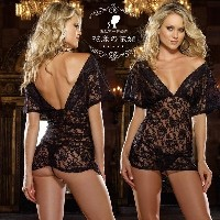 Black nightgown lingerie appeal game uniform sexy bud silk pajamas, nightgown V (Size: M)