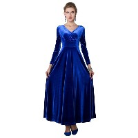 Sexy V Neck Long Sleeve Woman Long Formal Dress