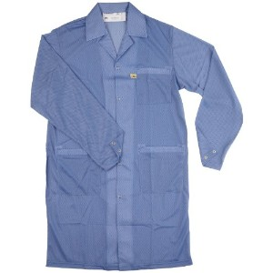 Desco 73607 Polyester Smock Statshield Labcoat with Snaps, 41-3/4 Length, 4X-Large, Blue by Desco