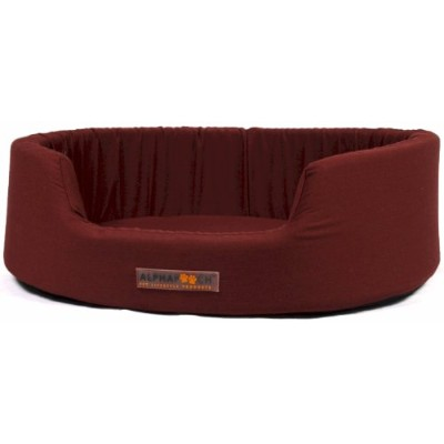 AlphaPooch Dreamer Oval Fabric Bolster Dog Bed, Garnet, Small by AlphaPooch