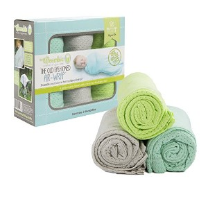 Woombie 3 Piece Organic Airwrap Vented Blankets, Aqua/Gray/Lime, 44 by Woombie
