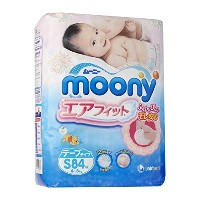 Japanese Soft Diapers - Nappies NEW Moony Air Fit, Small, (84 Psc) Irritation Free, for Extra...
