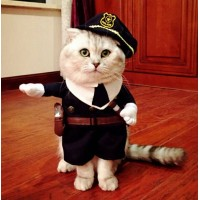 FD5100 □ Pet Small Cat Dog Police Costume Outfit Jumpsuit Cloth Halloween XS SFD5100□ペット小猫犬警察コスチューム衣...