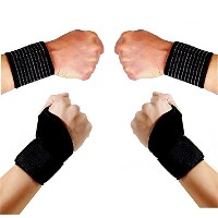 4pcs Set (ST1): 2 Wrist Straps and 2 Thumb Assisted Adjustable Wrist Wraps Straps for Recovery,...