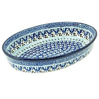"ポーランド食器Hand Crafted 11 "" Oval Baking Dish 298-ice Capades"
