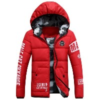 Large Size Men Down Jacket Winter Warm Hooded Windproof Outwear Down Coat Letter Print Thickening...