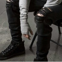 2017 Ripped Jeans Men Destroyed Denim Jeans With Holes Denim Skinny Slim Flexible Jean Scratched...